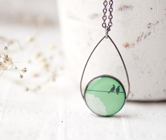 Mint bird necklace
